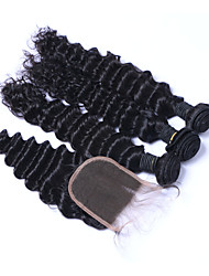 Natural Color Hair Weaves Brazilian Texture Deep Wave More Than One Year Four-piece Suit hair weaves