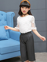 Girls' Fashion And Lovely Bud Silk Printing Jacket With Short Sleeves T-Shirt Wide-Legged Pleated Pants Two-Piece Dress
