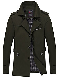 Men's Casual/Daily Vintage Fall Winter Jacket,Solid Shirt Collar Long Sleeve Long Cotton