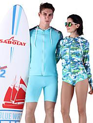 Homme Couple La navigation de plaisance Résistant aux ultraviolets Elasthanne Térylène Tenue de plongée Manches LonguesTee-shirts