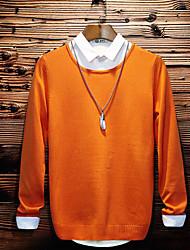 Standard Pullover Da uomo-Quotidiano Casual Semplice Tinta unita Rotonda Manica lunga Cotone Maglia Primavera Autunno Medio spessoreMedia