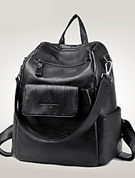 Women Backpack PU All Seasons Casual Formal Outdoor Office & Career Traveling Barrel Zipper Red Black Blue