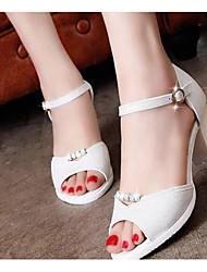 Mujer Sandalias Confort PU Verano Casual Blanco Rosa 5 - 7 cms