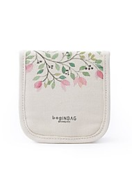 Women Card & ID Holder Canvas All Seasons Casual Square Hook and Loop Beige