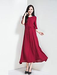 Feminino Solto balanço Vestido,Feriado Para Noite Casual Simples Sólido Decote V Longo Meia Manga Algodão Poliéster Primavera Verão