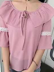 Feminino Camiseta Casual Simples Sólido Poliéster Decote Redondo Manga 3/4