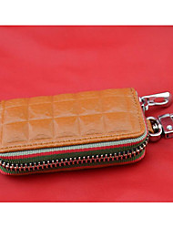 Men Key Holder Cowhide All Seasons Casual Outdoor Round Zipper Brown Black White