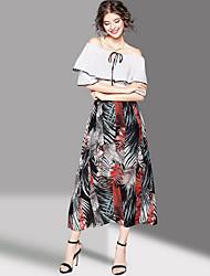 Mujer Vaina Vestido Noche Bonito,Estampado Escote Barco Maxi Media Manga Poliéster Verano Tiro Medio Microelástico Medio