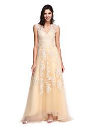 Linha A Decote V Cauda Escova Renda Tule Baile de Fim de Ano Evento Formal Vestido com Apliques de TS Couture®