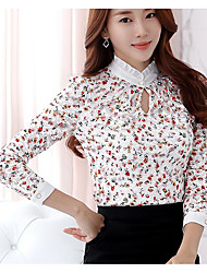 Feminino Camiseta Casual Simples Outono,Estampado Outros Colarinho Chinês Manga Longa
