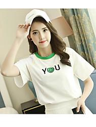 Damen Stickerei Einfach Niedlich Normal T-shirt,Rundhalsausschnitt Kurzarm Polyester