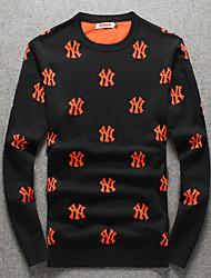 Standard Pullover Da uomo-Quotidiano Casual Semplice Con stampe Rotonda Manica lunga Cotone Maglia Primavera Autunno Medio spessoreMedia