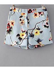 Femme Street Chic Taille Haute non élastique Short Pantalon,Droite Fleur