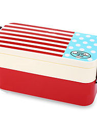 850ml Double Tier Japan Style Navy Pattern Bento Lunch Box(Red&Blue)