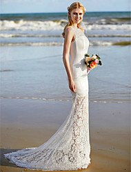 LAN TING BRIDE Trumpet / Mermaid Wedding Dress - Elegant & Luxurious See-Through Sweep / Brush Train Jewel Lace Satin with Lace