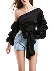 SHE'SWomen's Daily Evening Party Sexy Summer ShirtSolid One Shoulder Long Sleeve Polyester Thin