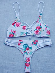 Femme Licou Bikinis Couleur Pleine Fleur Crochet Imprimé