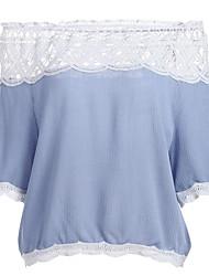Women's Street Street chic Summer Blouse,Plain Boat Neck Short Sleeve Chiffon Lace Medium