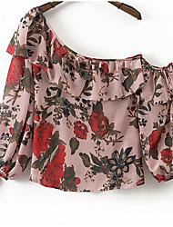 Damen Blumen Einfach Alltag Hemd,Schulterfrei Kurzarm Polyester
