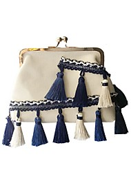 Women Shoulder Bag Canvas All Seasons Casual Round Kiss Lock Black White