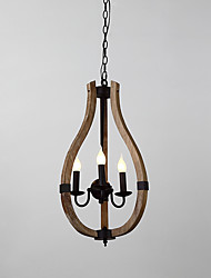 Три головы старинные картины функции мини стиль древесины / бамбук люстра лампа для входа / гостиной / детская комната украшают подвесной