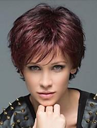 Привлекательная зрелая женщина наклонная бахрома натуральные короткие человеческие волосы парики