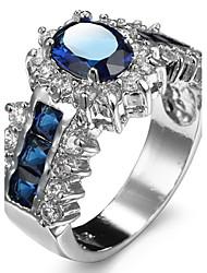 Ring Women's Euramerican Luxury Classic Blue Round Rhinestone Creative Detachable Zircon Ring Daily  Party Gift Movie Jewelry