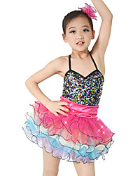 MiDee Ballet Outfits Children's Performance Organza Sequined Lycra Ruffles Tiers Sequins Sleeveless Natural