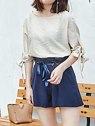 Damen Solide Street Schick Ausgehen T-shirt,Rundhalsausschnitt 3/4 Ärmel Andere