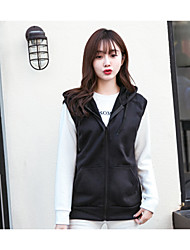 Women's Daily Hoodie Solid Hooded Micro-elastic Polyester Sleeveless Fall