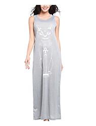 Tee Shirt Robe Femme Décontracté / Quotidien Sexy,Motif Animal Col Arrondi Maxi Sans Manches Polyester Eté Taille Normale Micro-élastique