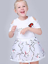 Girl's Fashion And Lovely Temperament Off-The-Shoulder Embroidered Butterflies T-Shirt  White Gauze Skirt Two-Piece