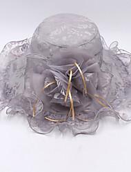 Mujer Primavera/Otoño Verano Sombrero Flor Organza Sombrero Playero Sombrero Floppy Sombrero para el sol,Sólido Color Mixto