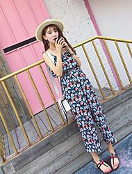 Femme simple Bohème Taille Normale Sortie Décontracté / Quotidien Vacances Combinaison-pantalon,Large Ample Fleur Mousseline de SoieMode
