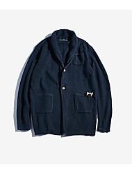Standard Cardigan Da uomo-Quotidiano Casual Semplice Tinta unita Puois A V Manica lunga Cotone Maglia Primavera Autunno Medio spessore