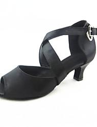 Damen Latin Seide Sandalen Aufführung Verschlussschnalle Kubanischer Absatz Schwarz 5 - 6,8 cm Maßfertigung