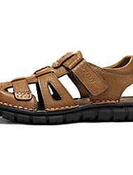 Camel Men's Daily Casual Beach Closed Toe Sandals Cow Leather Shoes Color Khaki/Dark Brown