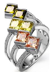 Ring Settings Ring  Luxury Elegant Noble Zircon Women's Multicolor Geometric Rhinestone Euramerican Fashion Birthday Wedding Movie Gift Jewelry