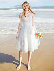 LAN TING BRIDE Trapèze Robe de mariée - Chic & Moderne Petites Robes Blanches Mi-long Coeur Dentelle Tulle avec Dentelle