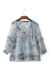 Women's Daily Simple Blouse,Floral V Neck Long Sleeve Silk