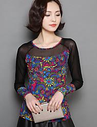 Damen Blumen Einfach Alltag T-shirt,Rundhalsausschnitt Langarm Nylon