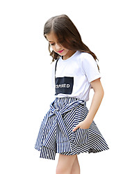 Girls' Stripes Skirt-Cotton All Seasons