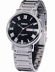 Men's Fashion Watch Quartz Stainless Steel Band White Gold