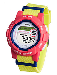 Kid's Sport Watch Digital Rubber Band Pink Yellow