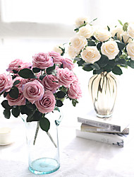 17inch Large Size 10 Heads Silk Polyester Roses Tabletop Flower Artificial Flowers