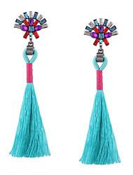 Fashion Women Vintage Stone Set Long Tassel Earrings