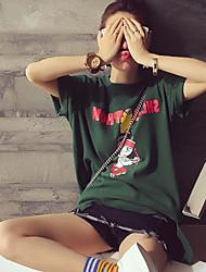 Damen Solide Druck Einfach Normal T-shirt,Rundhalsausschnitt Kurzarm Baumwolle