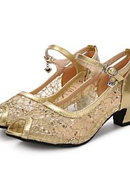"Women's Latin Sparkling Glitter Net Patent Leather Sandals Heels Sneakers Indoor Buckle Sparkling Glitter Cuban Heel Gold Black Silver 2"""