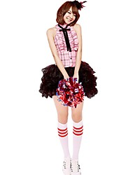 Cheerleader Costumes Outfits Women's Performance Polyester Tiers Bow 2 Pieces Sleeveless High Skirts Tops