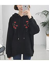 Feminino Moletom Casual Contemprâneo Sólido Floral Côr Pura Decote Redondo 100% algodão strenchy Manga Longa Primavera Outono
